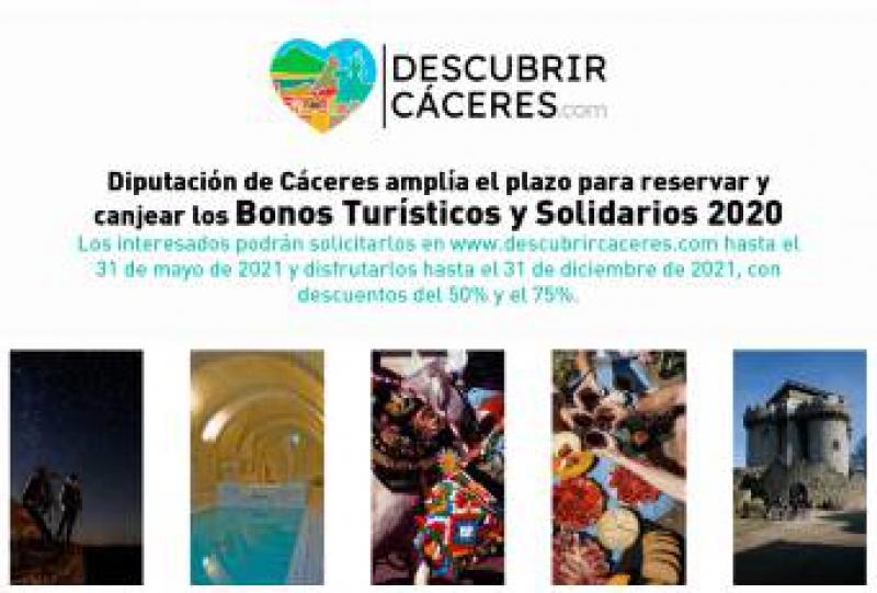 La Diputación de Cáceres amplía el plazo para reservar y canjear los Bonos Turísticos y Solidarios 2020