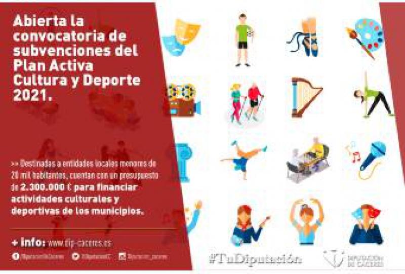 Abierta la convocatoria de subvenciones del Plan Activa Cultura y Deporte 2021