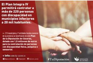El Plan Integra IV permitirá contratar a más de 220 personas con discapacidad en municipios inferiores a 20 mil habitantes