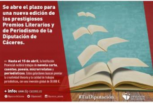 Se abre el plazo para una nueva edición de los prestigiosos Premios Literarios y de Periodismo de la Diputación de Cáceres