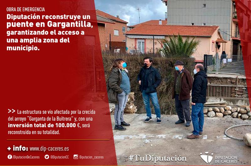Diputación reconstruye de emergencia un puente en Gargantilla, garantizando el acceso a una amplia zona del municipio