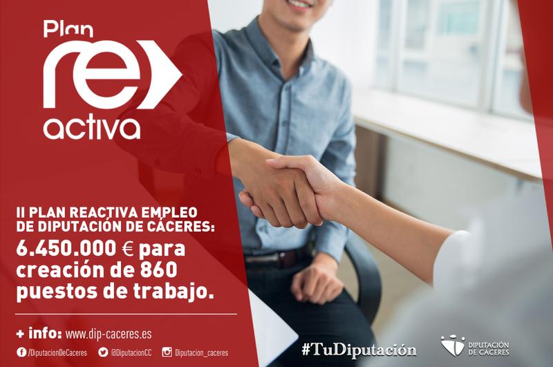 El II Plan ReActiva Empleo de la Diputación destina 6.450.000 euros para la creación de 860 puestos de trabajo