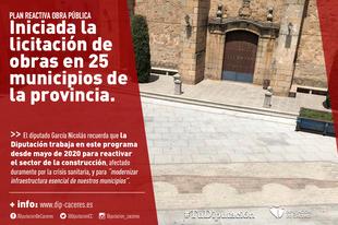 Iniciada la licitación de obras en 25 municipios de la provincia dentro del Plan ReActiva Obra Pública