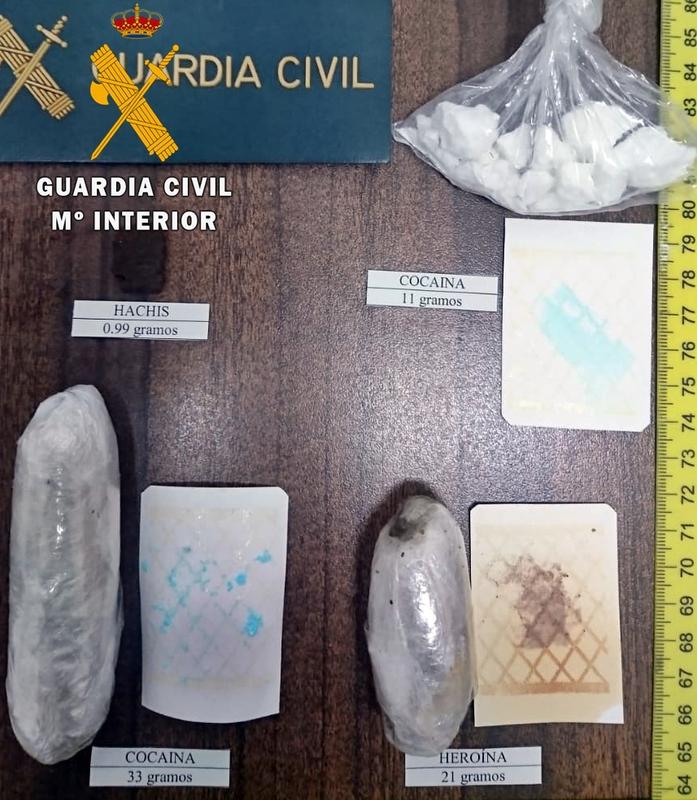 La Guardia Civil detiene a tres vecinos de Llerena por tráfico de drogas