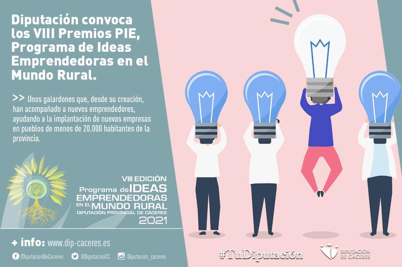 La Diputación convoca los VIII Premios PIE, Programa de Ideas Emprendedoras en el Mundo Rural