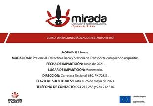 La Diputación de Badajoz iniciará una acción formativa de ''Operaciones básicas de restaurante-bar'' en Monesterio