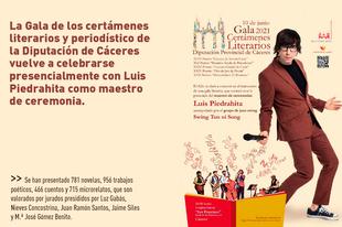 La Gala de los certámenes literarios de la Diputación de Cáceres vuelve a celebrarse presencialmente con Luis Piedrahita como maestro de ceremonia
