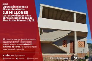 La Diputación ingresa a 60 ayuntamientos 3,8 millones de euros correspondientes a las obras encomendadas del Plan Activa Bianual 21/22