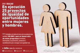 En ejecución 25 proyectos de Igualdad de oportunidades de mujeres y hombres aprobados por la Diputación de Cáceres