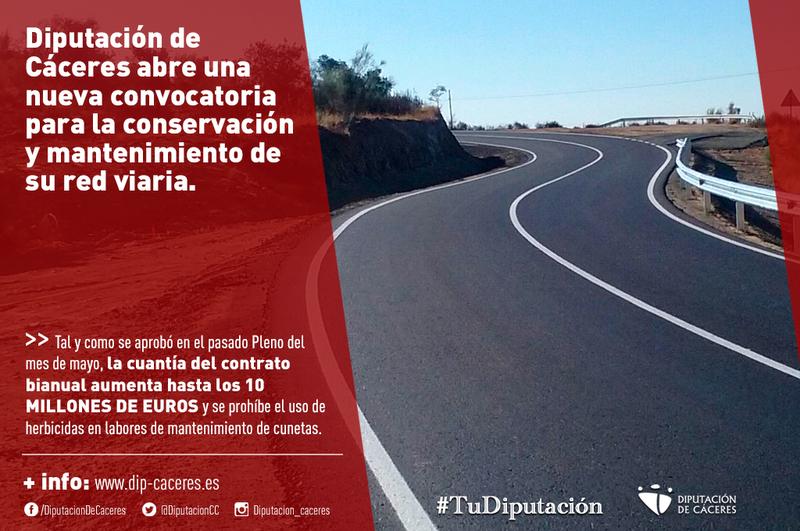 Diputación de Cáceres abre una nueva convocatoria para la conservación y mantenimiento de su red viaria