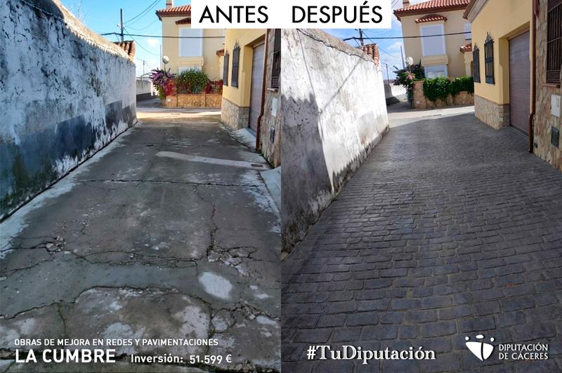 Nuevo pavimento y redes de abastecimiento en el casco urbano y en la calle de entrada y salida a La Cumbre