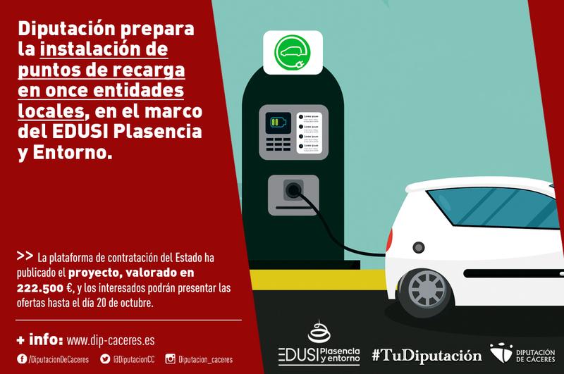 La Diputación prepara la instalación de puntos de recarga en once entidades locales, en el marco EDUSI Plasencia y Entorno