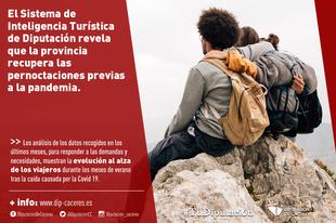 El Sistema de Inteligencia Turística de la Diputación revela que la provincia de Cáceres recupera las pernoctaciones previas a la pandemia