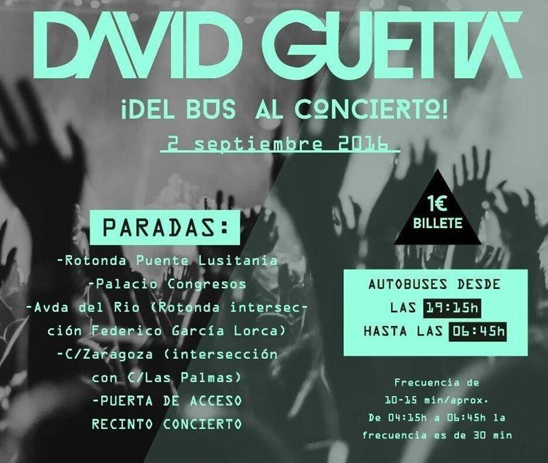 autobuses cada 10 minutos para los asistentes al concierto de David Guetta en M�rida
