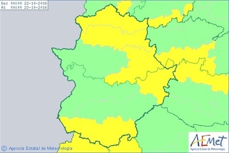 La Siberia y la zona sur de Badajoz, y gran parte de la provincia de C�ceres, en alerta este s�bado por lluvias