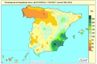 Las lluvias acumuladas desde octubre se quedan por debajo de lo normal en Extremadura y otras regiones
