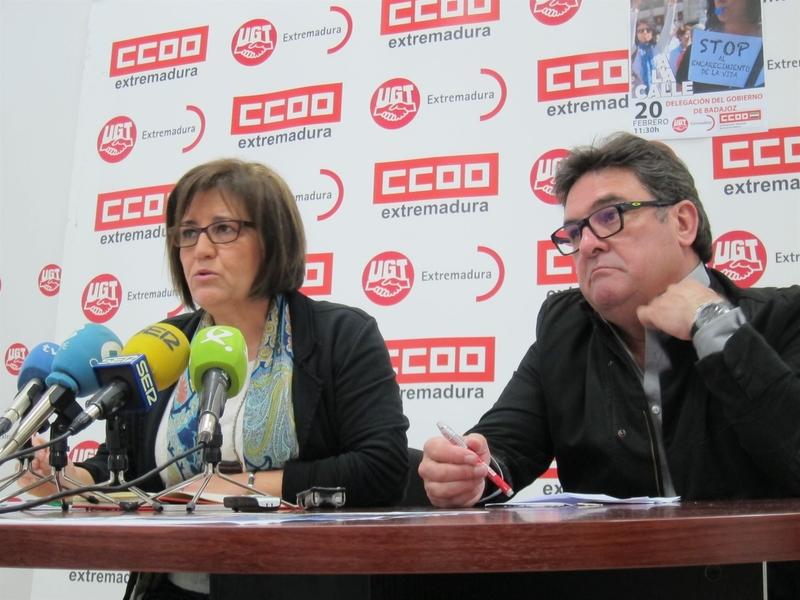 CCOO y UGT retoman las protestas en Extremadura para exigir empleo y salario ''dignos'' a Gobierno y patronal