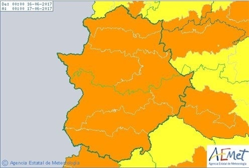 Aemet eleva a naranja los avisos por calor a toda Extremadura el viernes y el sábado con máximas de 42 y mínimas de 26