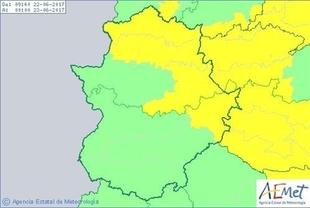 El aviso amarillo por altas temperaturas se extiende a diversas zonas de Extremadura este jueves