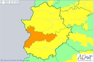 Extremadura continúa este jueves en riesgo por altas temperaturas, que alcanzarán 40 grados en las Vegas del Guadiana