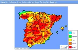 Las elevadas temperaturas provocan que mañana el riesgo 'muy alto' de incendio se dispare a casi toda España