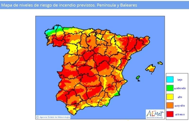 Las elevadas temperaturas provocan que el riesgo 'muy alto' de incendio se dispare a casi toda España