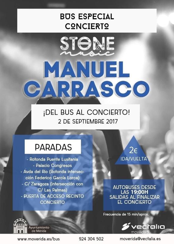 La empresa de transportes de Mérida establecerá un servicio especial de autobuses para el concierto de Manuel Carrasco