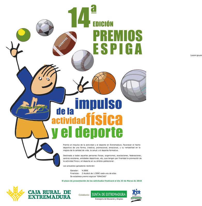 Caja Rural de Extremadura convoca el XIV Premio Espiga a la Actividad Física y el Deporte