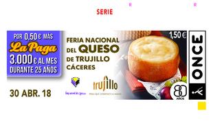 El cupón de la ONCE divulga la tradición y el sabor de la Feria Nacional del Queso, de Trujillo