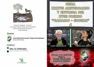 Carolina Yuste y Juan Margallo, galardonados por la Casa de Extremadura en Jerez de la Frontera