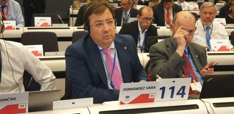 Fernández Vara reclama en Bruselas una Política de Cohesión fuerte para una transición ecológica justa