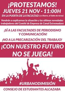 El Consejo de Estudiantes de la Alcazaba exige a Urbano García que dimita como director general de CEXMA