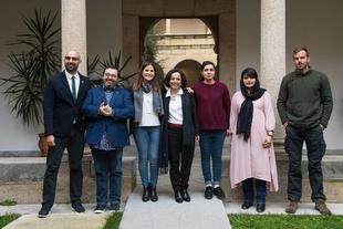 La consejera de Igualdad y portavoz de la Junta recibe en la sede de Presidencia a los galardonados con los premios 'Extremadura Global' 2019