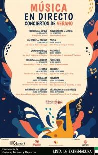 El programa de cultura en verano 'Reencontrarte' ofrecerá 35 conciertos de bandas extremeñas en 14 localidades de la región
