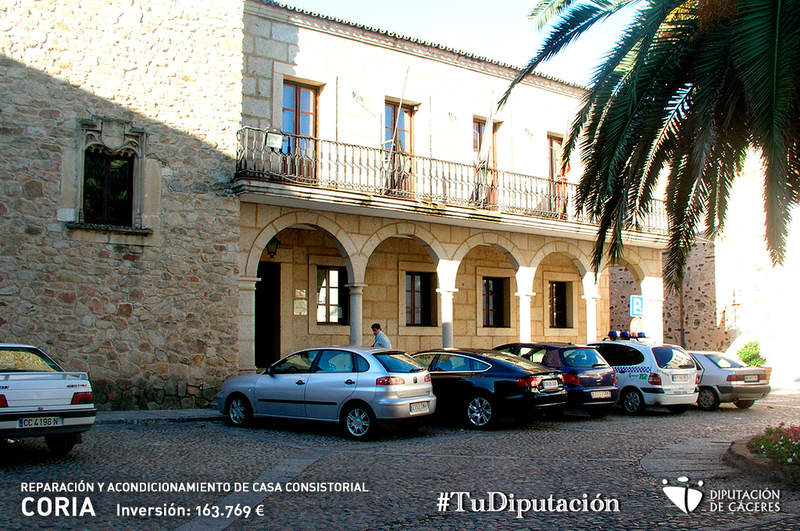 La Diputación de Cáceres invierte 163.769 euros en la reparación y acondicionamiento de la Casa Consistorial de Coria
