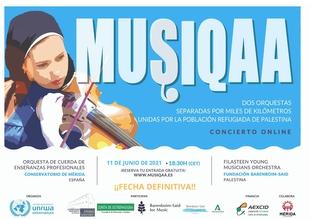 El concierto solidario Musiqaa organizado por la AEXCID y UNRWA por la situación de emergencia en Palestina se celebrará el próximo 11 de junio