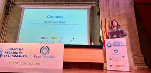 Begoña García recuerda que la agricultura de regadío es un factor crucial para el desarrollo económico y social de Extremadura